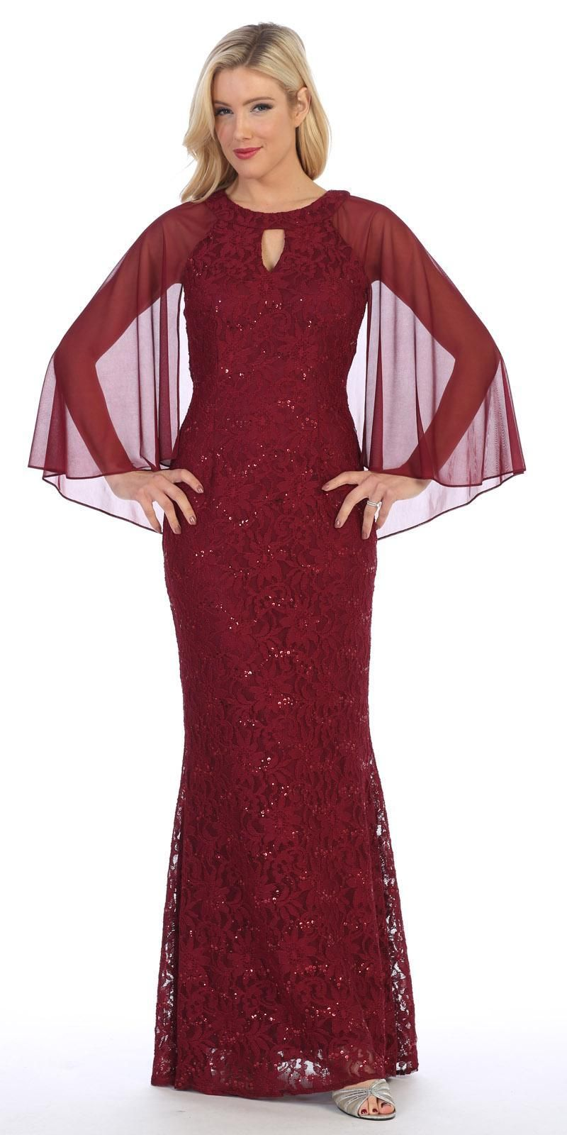5583a45a101 Celavie 6352L Burgundy Long Formal Dress Keyhole Neck with Attached Cape –  DiscountDressShop