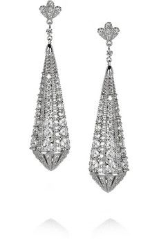 Kenneth Jay Lane Rhodium-plated cubic zirconia earrings | THE OUTNET