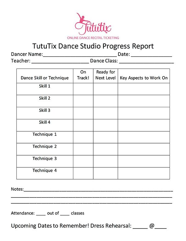 The Dance Progress Report How To Share Progress  Teacher Students