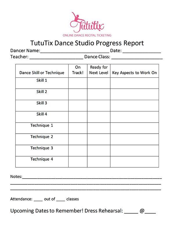 The Dance Progress Report How to Share Progress Teacher - high school progress report template