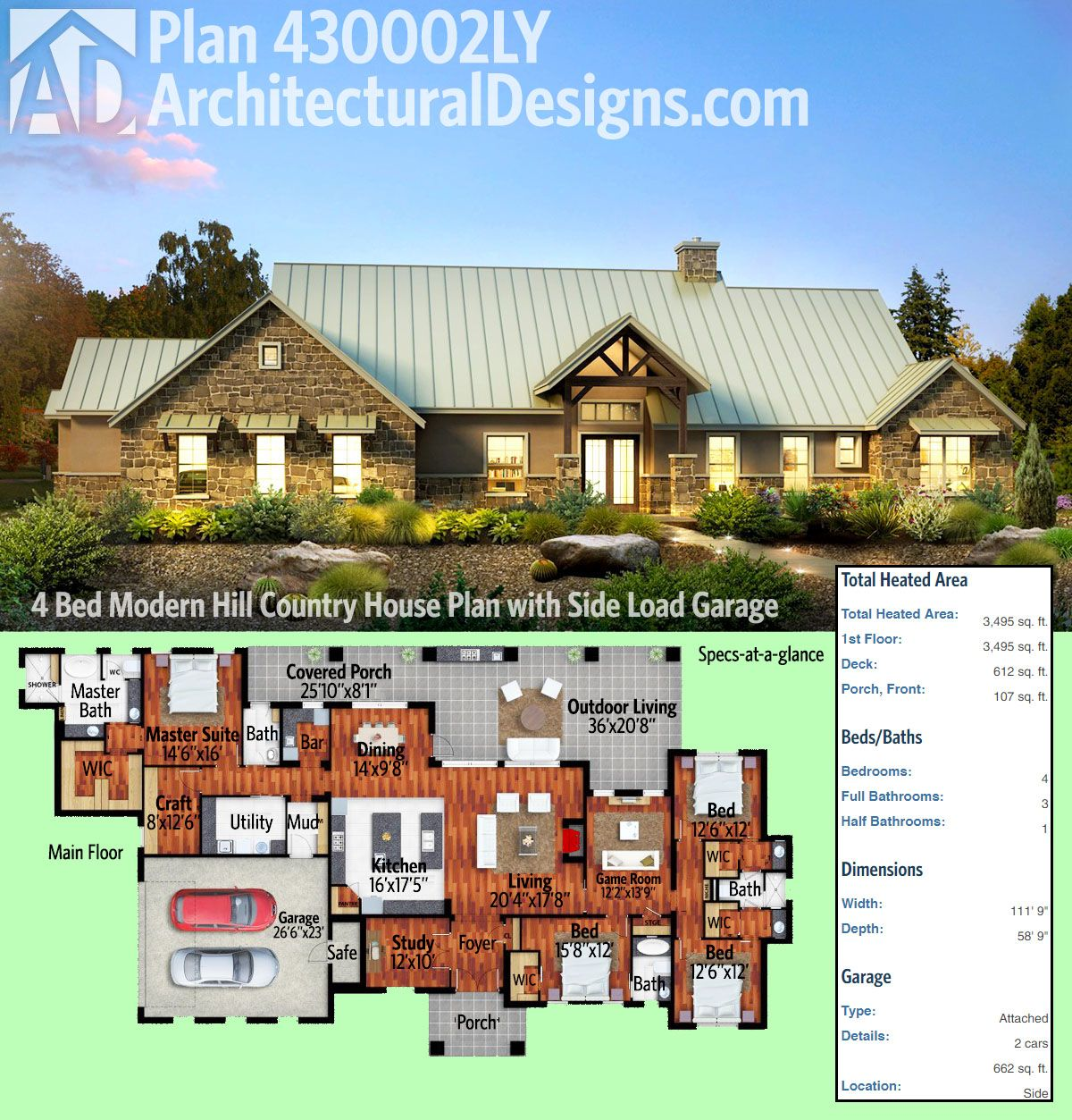 Plan 430002LY Modern Hill Country House Plan with Side Load Garage – Side Load Garage Ranch House Plans