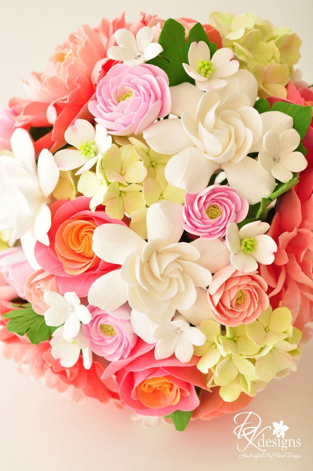 Coral Pinks Greens And Whites Flowers For Wedding Beths Wedding