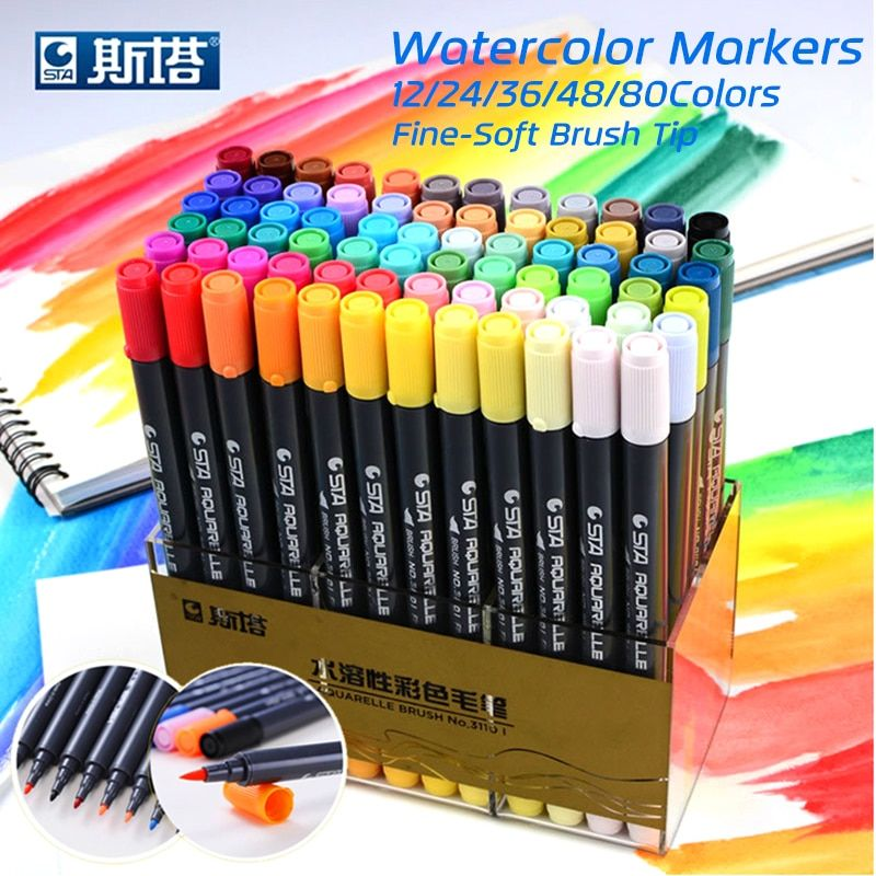 Sta 80colors Set Water Based Ink Sketch Marker Pens Twin Tip Fine