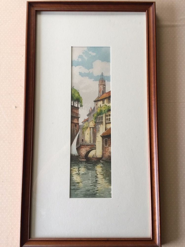 Etching Print Venice Canal Scene, Hand Colored, With Nice Wooden ...