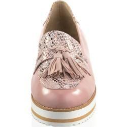 Photo of Alba Moda, mocassins com aparência de réptil metálico, rosé Alba Moda