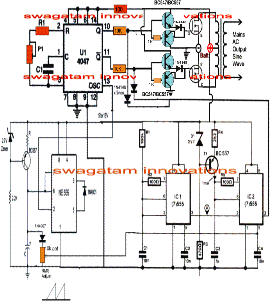 The post explains a simple pure sine wave inverter circuit using the IC  4047 Basic Electrical