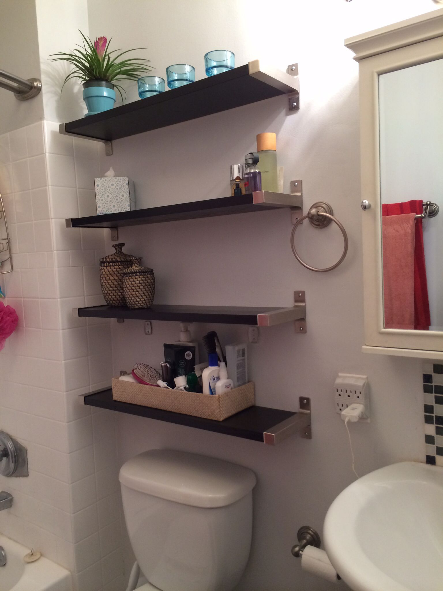 Small bathroom solutions Ikea shelves Bathroom shelf