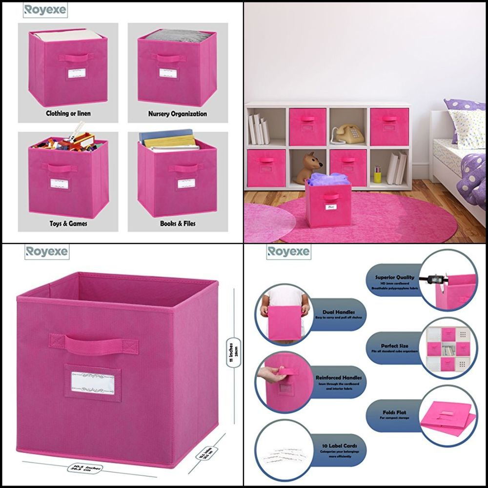 Set Of 6 Foldable Fabric Storage Cube Bins Collapsible Organizer Baskets Pink Royexe Fabric Storage Cubes Cube Storage Drawers For Sale