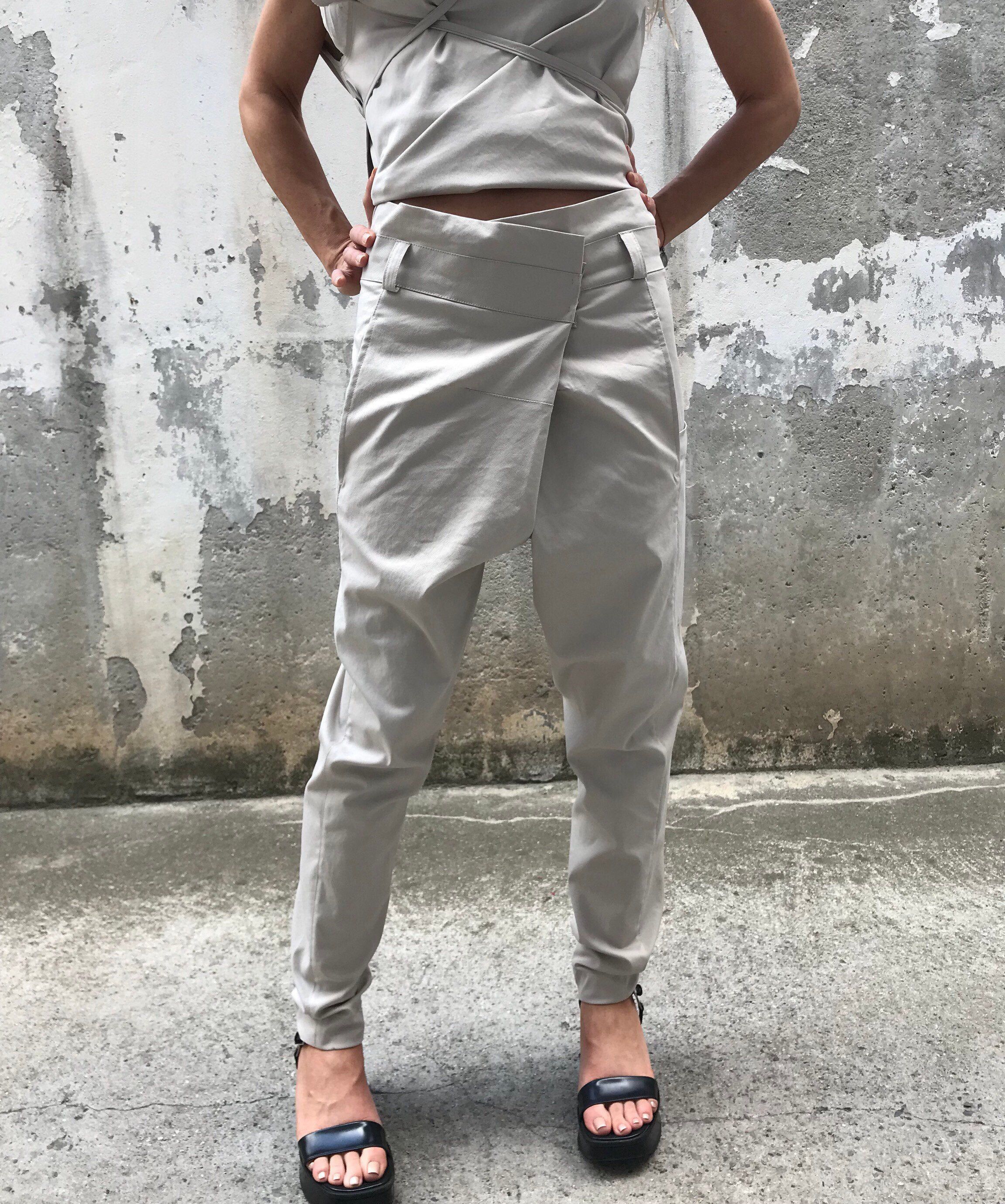 Excited To Share This Item From My Etsy Shop Drop Crotch Pants Paradox Suit Pants Gray Pants Women Black Pa Fashion Modest Fashion Outfits Chic Pants [ 2760 x 2304 Pixel ]