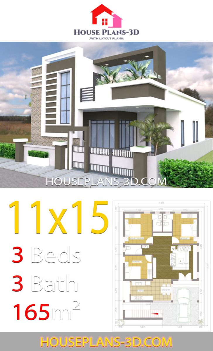 House Design 11x15 With 3 Bedrooms Terrace Roof House Plans 3d House Porch Design House Plans Duplex House Design