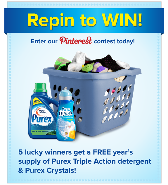 """Repin to WIN!"" Pinterest Sweepstakes steps: 1. Comment how many socks you think are in the laundry hamper image at http://pinterest.com/pin/86201780338233222/. 2. Repin the hamper image. Five (5) randomly chosen people that complete the steps above by July 23, 2012 and guess closest to the actual number of socks win a FREE year's supply of Purex Triple Action detergent & Purex Crystals!"