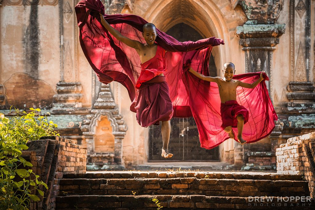 "Jump - Two novice monks leap down some stairs in Old Bagan, Myanmar.  <a href=""http://www.drewhopperphotography.com"">Website</a>  Follow my other social platforms:  <a href=""https://www.facebook.com/DrewHopperPhotography/"">Facebook</a>  <a href=""https://www.instagram.com/drewhopper/"">Instagram</a>  <a href=""https://twitter.com/DrewHopperPhoto"">Twitter</a>  <a href=""http://drewhopper.deviantart.com/"">DeviantART</a>  <a href=""https://www.flickr.com/photos/drewhopper/"">Flickr</a>   For image…"