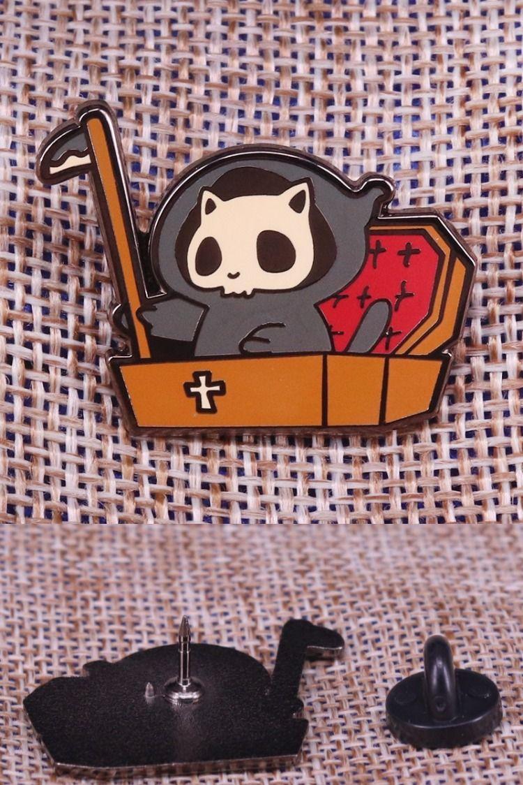 #Grim #reaper #panda #enamel #pin #skull #ghost #brooch #cute #cat #badge #death #jewelry #funny #Halloween #accessories #gift #for #her