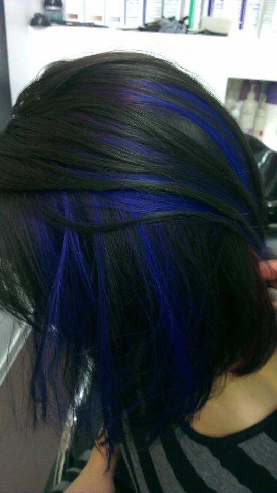 blue peek a boo highlights - Google Search | Hair stuffs ...
