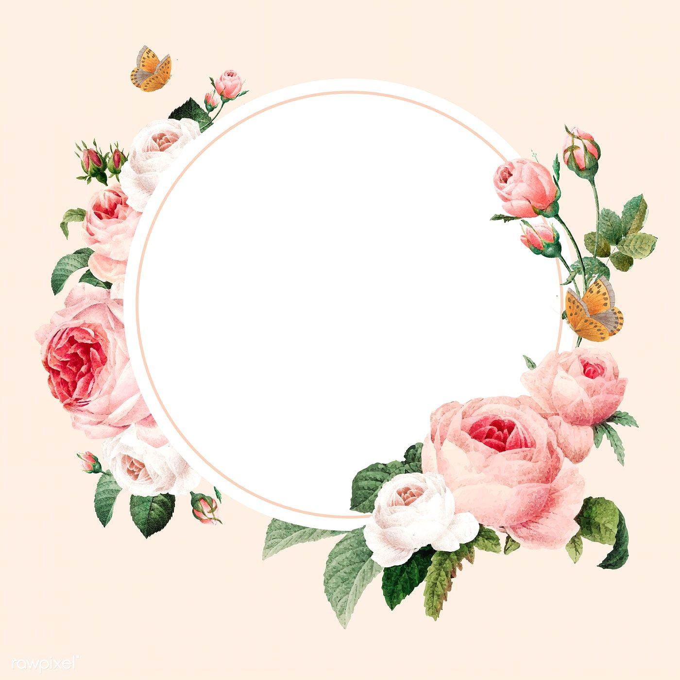 Download premium vector of Blank floral round frame vector