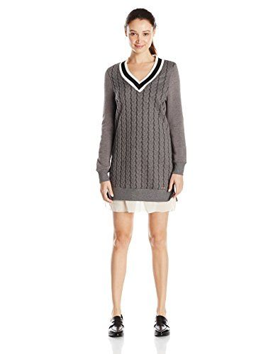 5062bc2f703 nice U.S. Polo Assn. Junior s Cable Knit V-Neck Varsity Dress with Fleece  Sleeves