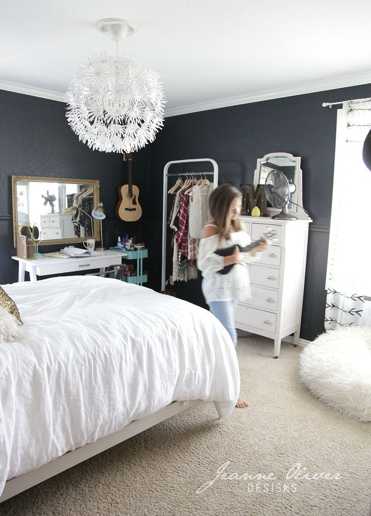 The dark grey walls might compliment that wallpaper nicely for Teen girl bedroom idea
