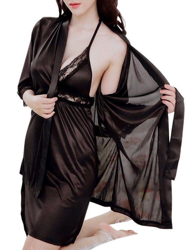 Satin Sling Deep V Neck Lace Backless Nightdress