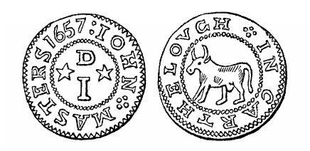 17th Century Token - Malcomson's engraving of John Masters' penny token (Carlow, 1657)