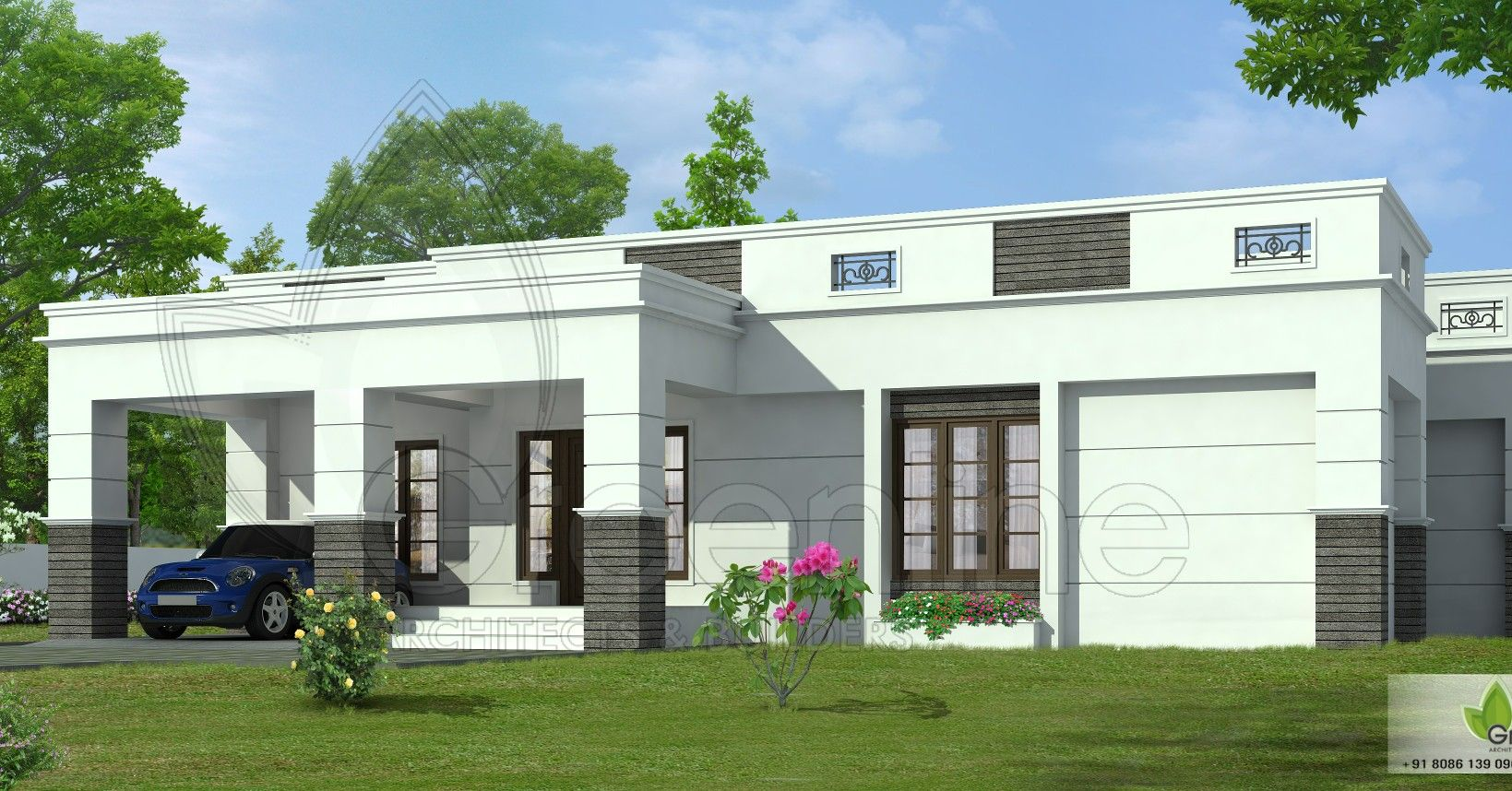 4 Bedroom Single Storied Flat Roof Home Flat Roof House House Roof House Plan Gallery