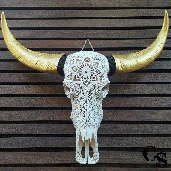 HAND CARVED BULL SKULL /& HORNS Lotus Flower buffalo longhorns steer Animal Black