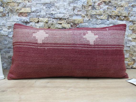 Decorative bohemian lumbar kilim pillow nomadic striped kilim pillow ethnic pillow boho pillow 12x24 kilim kissen code 1541