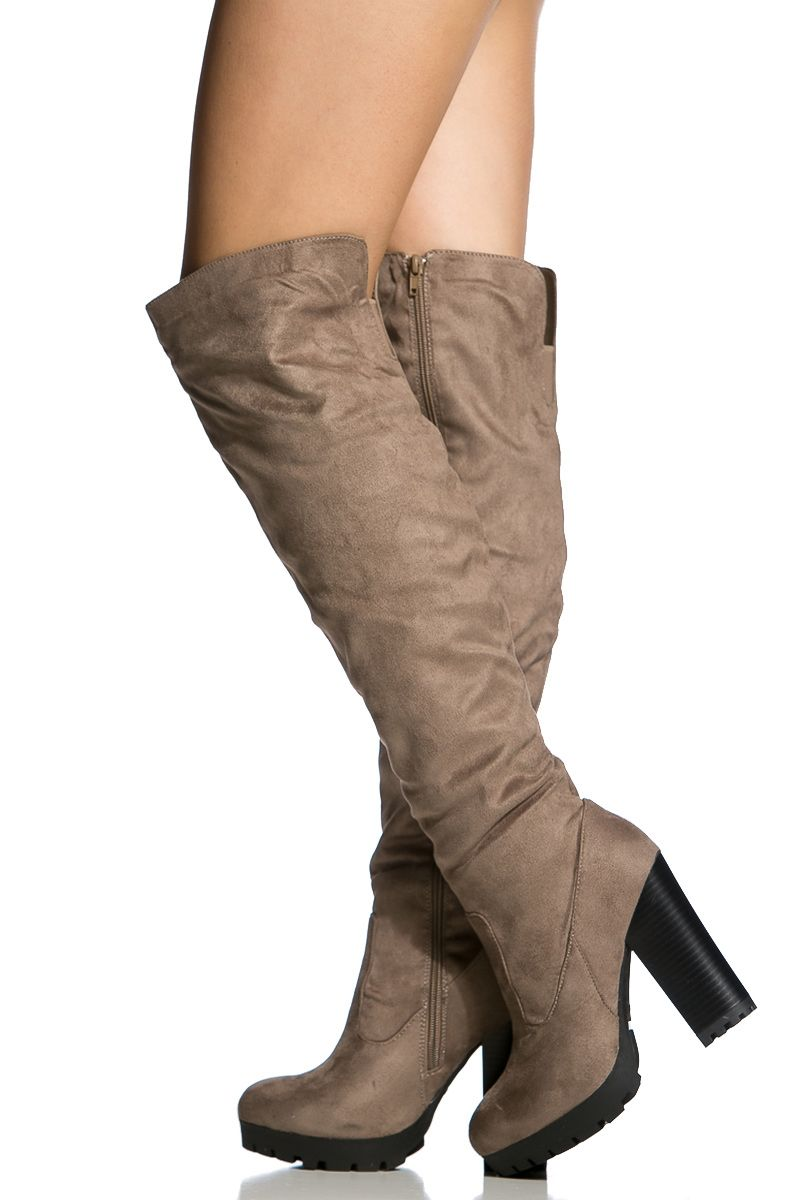 9d74965563c9 Taupe Faux Suede Chunky Knee High Boots @ Cicihot Boots Catalog:women's  winter boots,leather thigh high boots,black platform knee high boots,over  the knee ...