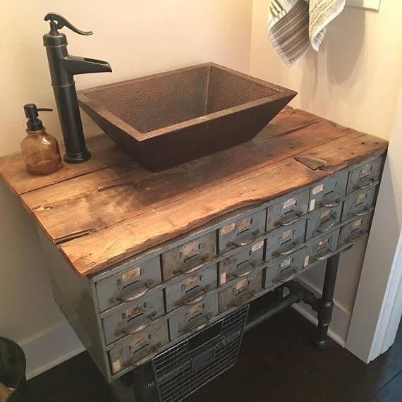 Custom Antique Industrial Bathroom Vanity  Powder room