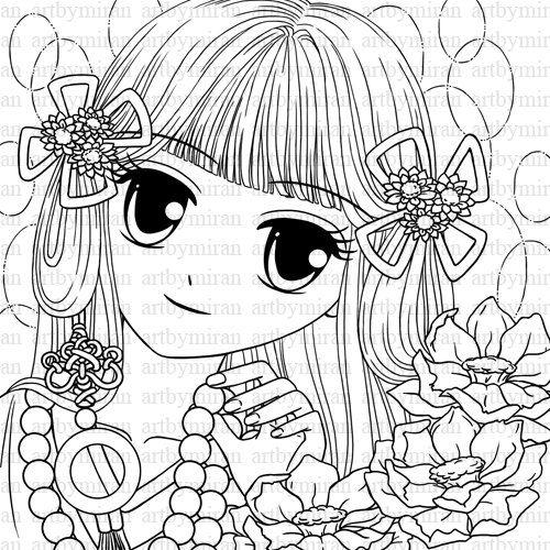 Digital Stamp Digi Stamp Girl Coloring page by artbymiran
