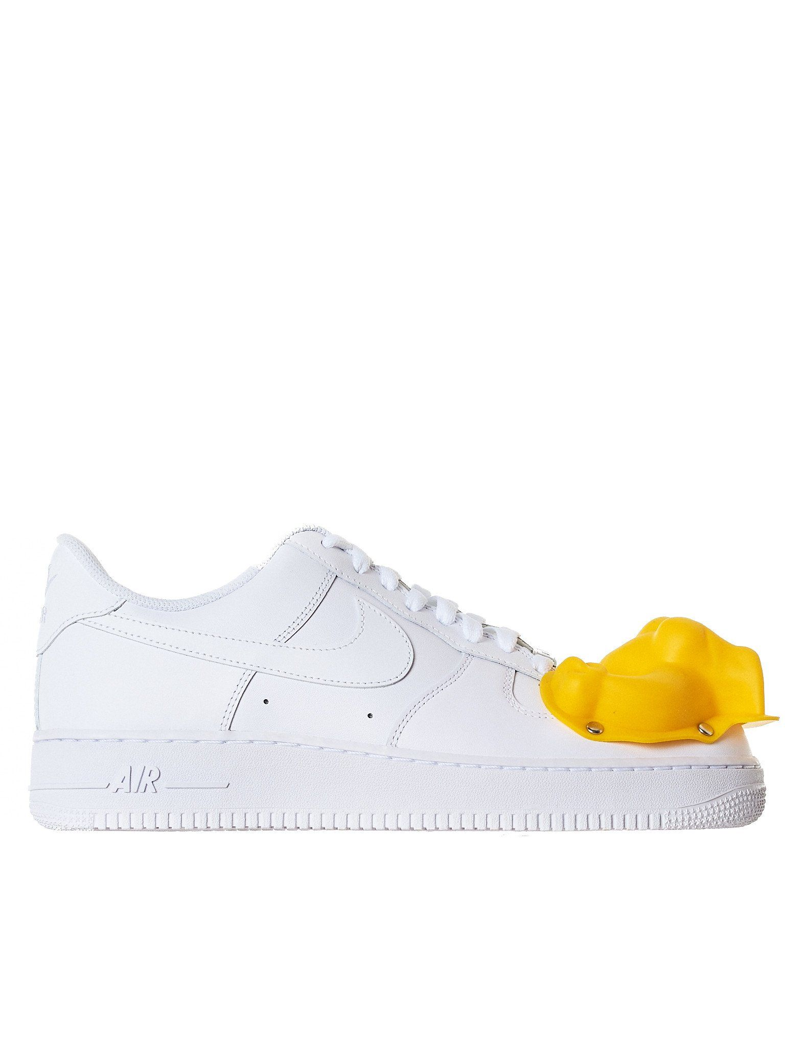 45270cd1bb66 Nike x CDG Comme des Garçons x Nike Air Force Ones in white featuring a  silicone-based riveted
