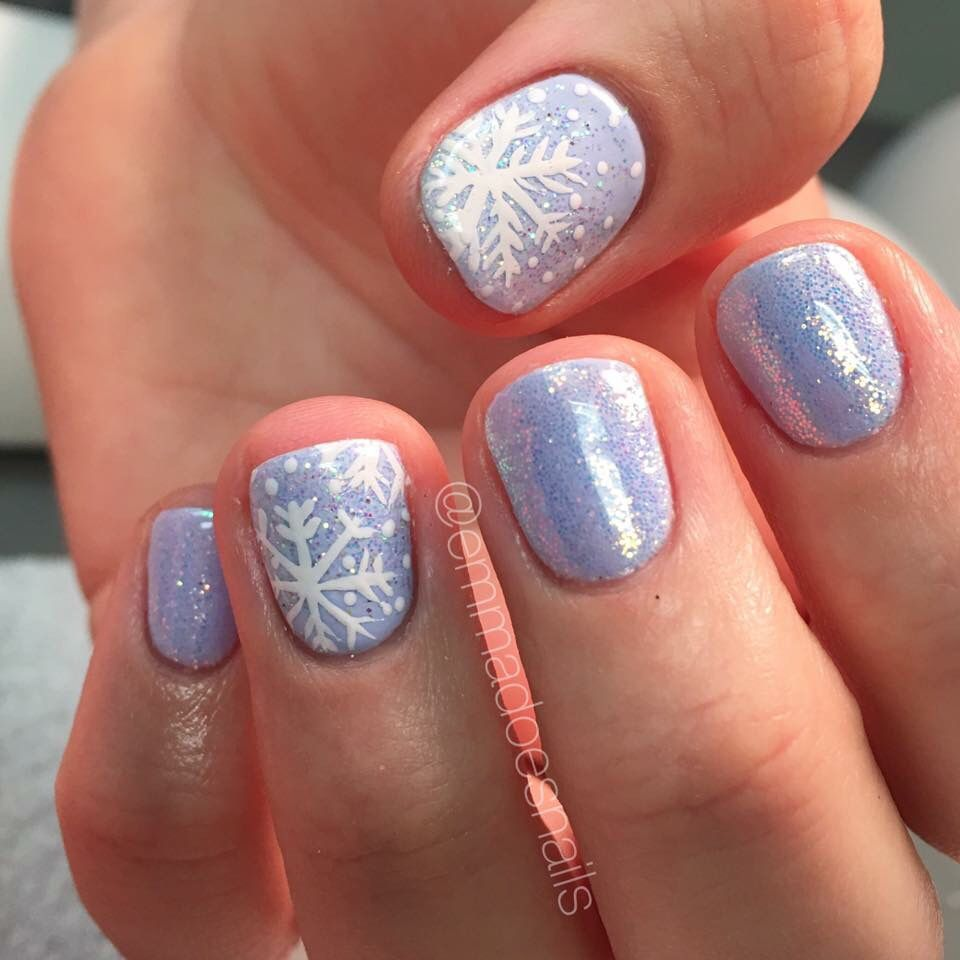 snowflake nails glitter periwinkle