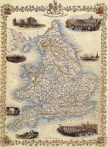 1800S-MAP-ENGLAND-LONDON-NEWCASTLE-OXFORD-VINTAGE-POSTER-REPRO-12-X-16