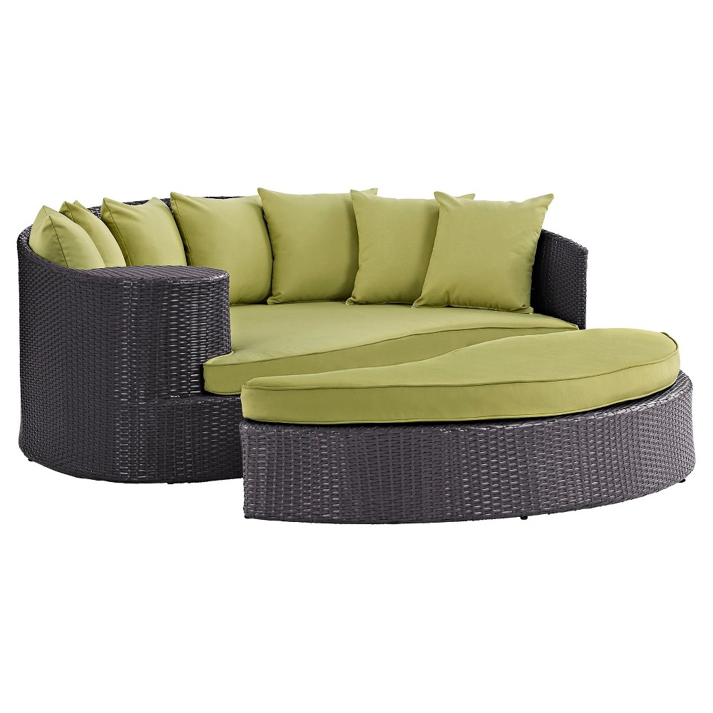 Convene outdoor patio daybed green modway outdoor