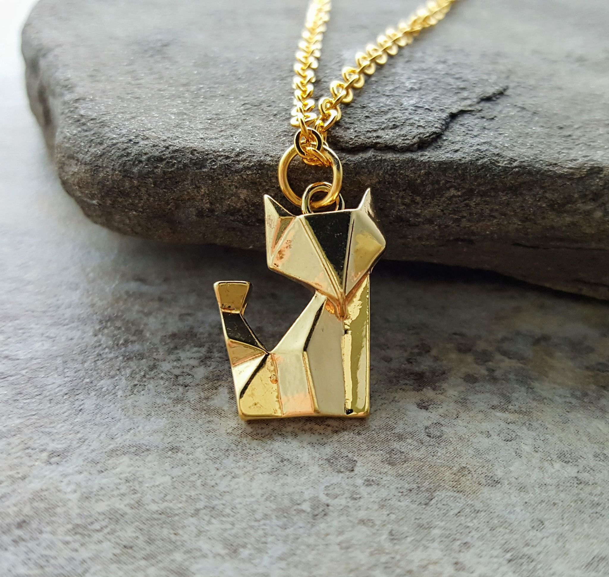 Small ORIGAMI FOX sterling silver charm delicate necklace minimalistic charm jewelry