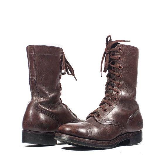 Men S Brown Vintage Combat Boots Dated 1951 Chippewa Shoe