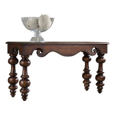 Poplar wood console table with classic turned legs and scrolling