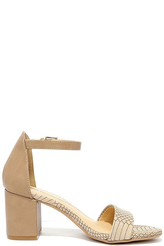 6265008fecb CL by Laundry Jessie Taupe Snake Ankle Strap Heels | Fashion | Ankle ...