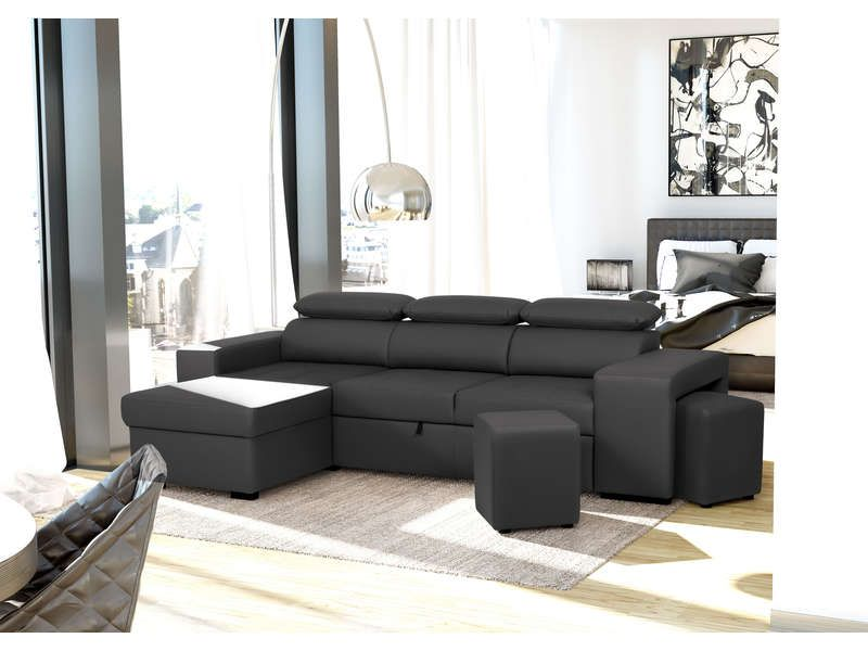 canap d 39 angle convertible 4 places flavio 2 poufs. Black Bedroom Furniture Sets. Home Design Ideas