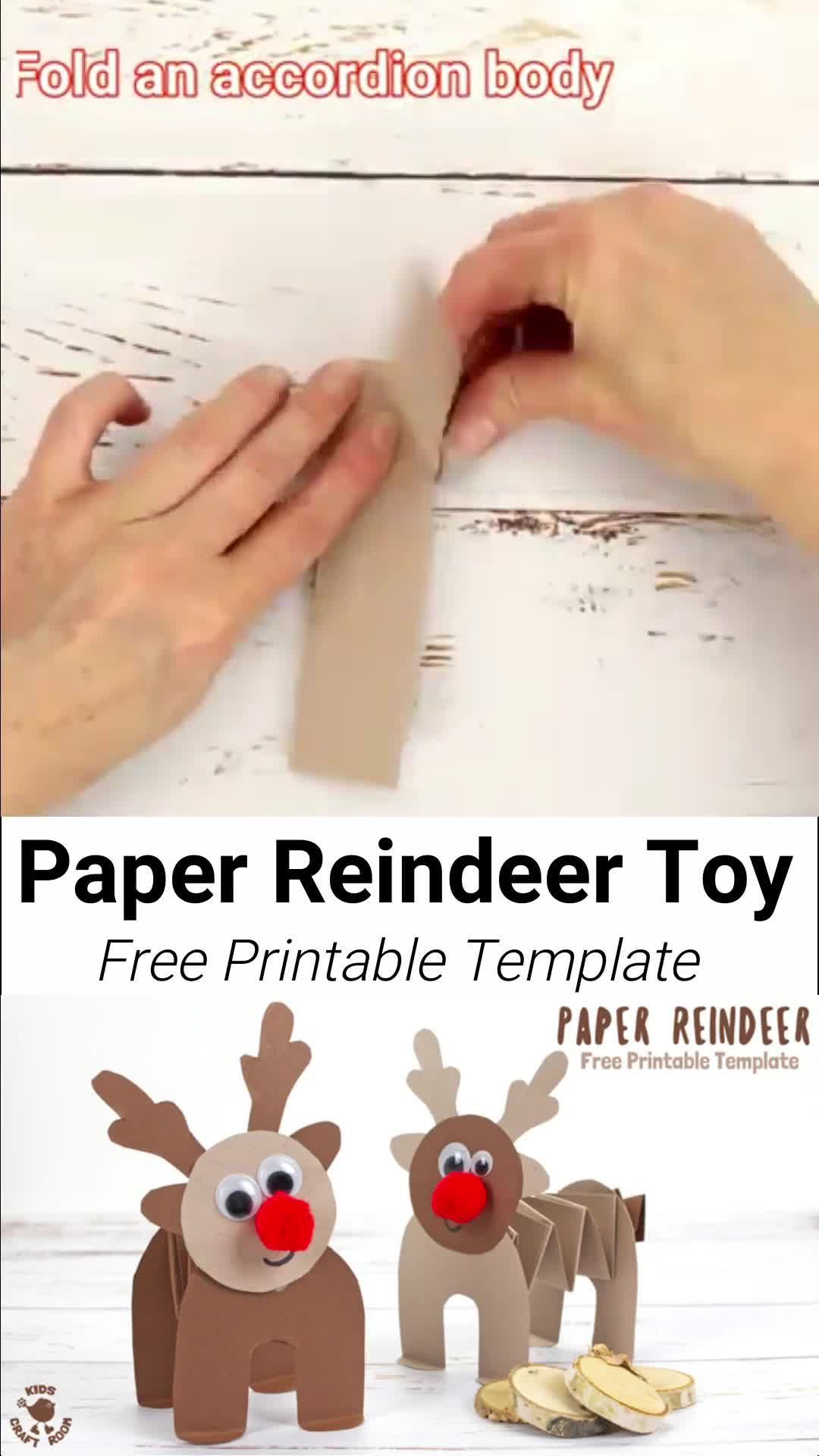 PRINTABLE PAPER REINDEER CRAFT - here's a fun free printable Christmas craft kids can play with. This homemade paper reindeer toy has a simple but cleverly folded body that allows it to stand up and be walked along by little hands. The accordion folds work like a spring so the paper reindeer can bounce up and down on their bottoms! So much fun! A free printable holiday craft kids will love. #kidscraftroom #reindeercrafts #christmascrafts #papercrafts #printablecrafts #printables #kidscrafts #christmascraftsforkidstomake