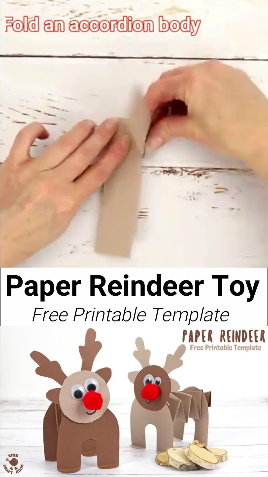 Photo of Printable Accordion Paper Reindeer Toys