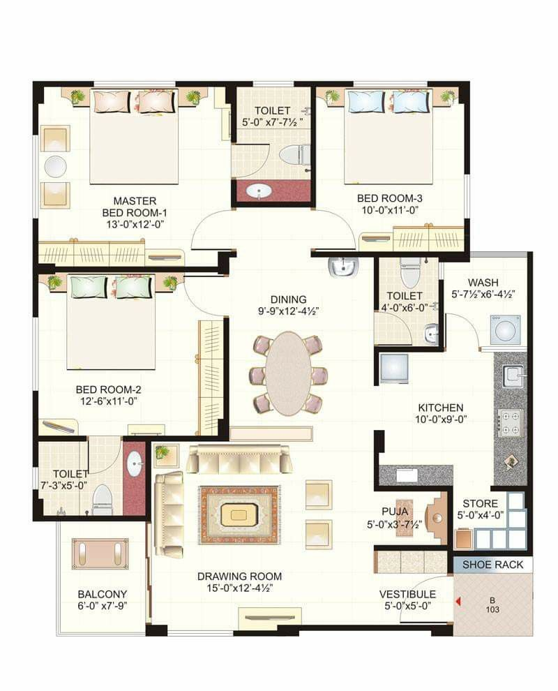 3 Bhk Floor Plan Indian House Plans House Layout Plans 2bhk House Plan