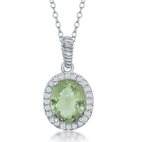 Womens sterling silver halo genuine green amethyst pendant necklace womens sterling silver halo genuine green amethyst pendant necklace aloadofball Image collections
