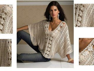 Elegante y de buen gusto, esta blusa tejida con ganchillo es una bellísima prenda que no puede faltar en tu placard. Fácil de hacer, con hermoso diseñoycon patron. El Patrón: (haga clic para ampliar la imagen.)