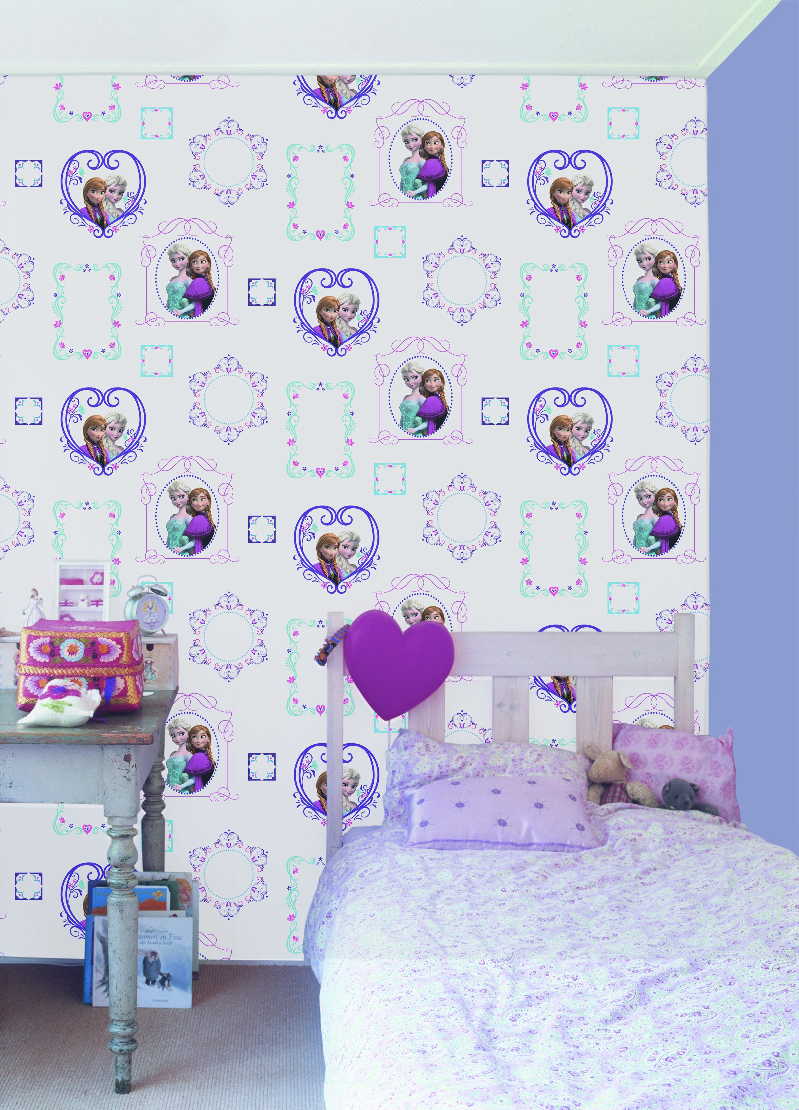 Behang Praxis Roze.Praxis Frozen Behang Met Paars En Roze Behang Framed Wallpaper