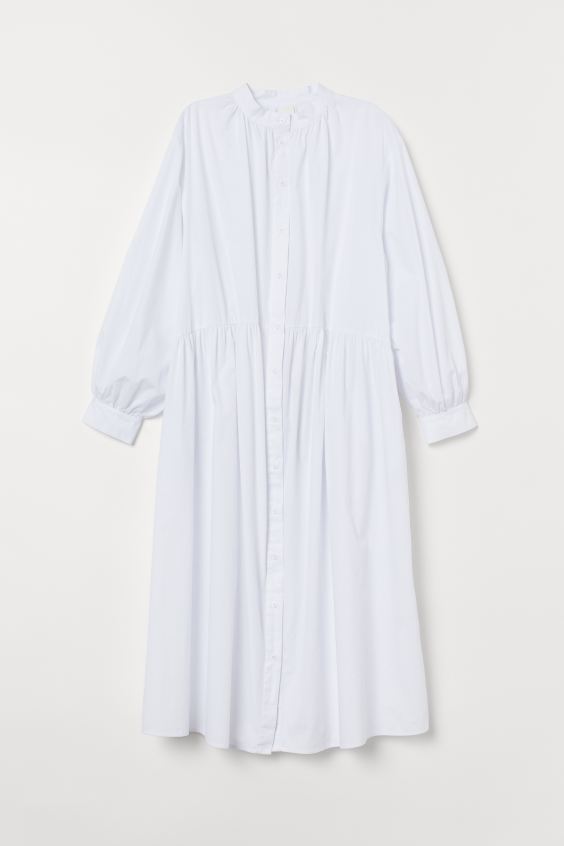 Long-sleeved Cotton Dress in 2020   Cotton dresses, Calf