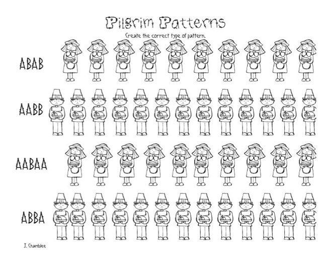 Pilgrim Patterns Free Kindergarten Worksheet Free Kindergarten