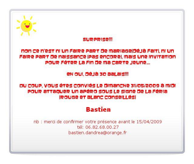 Texte D'invitation Anniversaire Surprise 60 Ans Inspirational Texte Pour Invitation Anniversaire ...