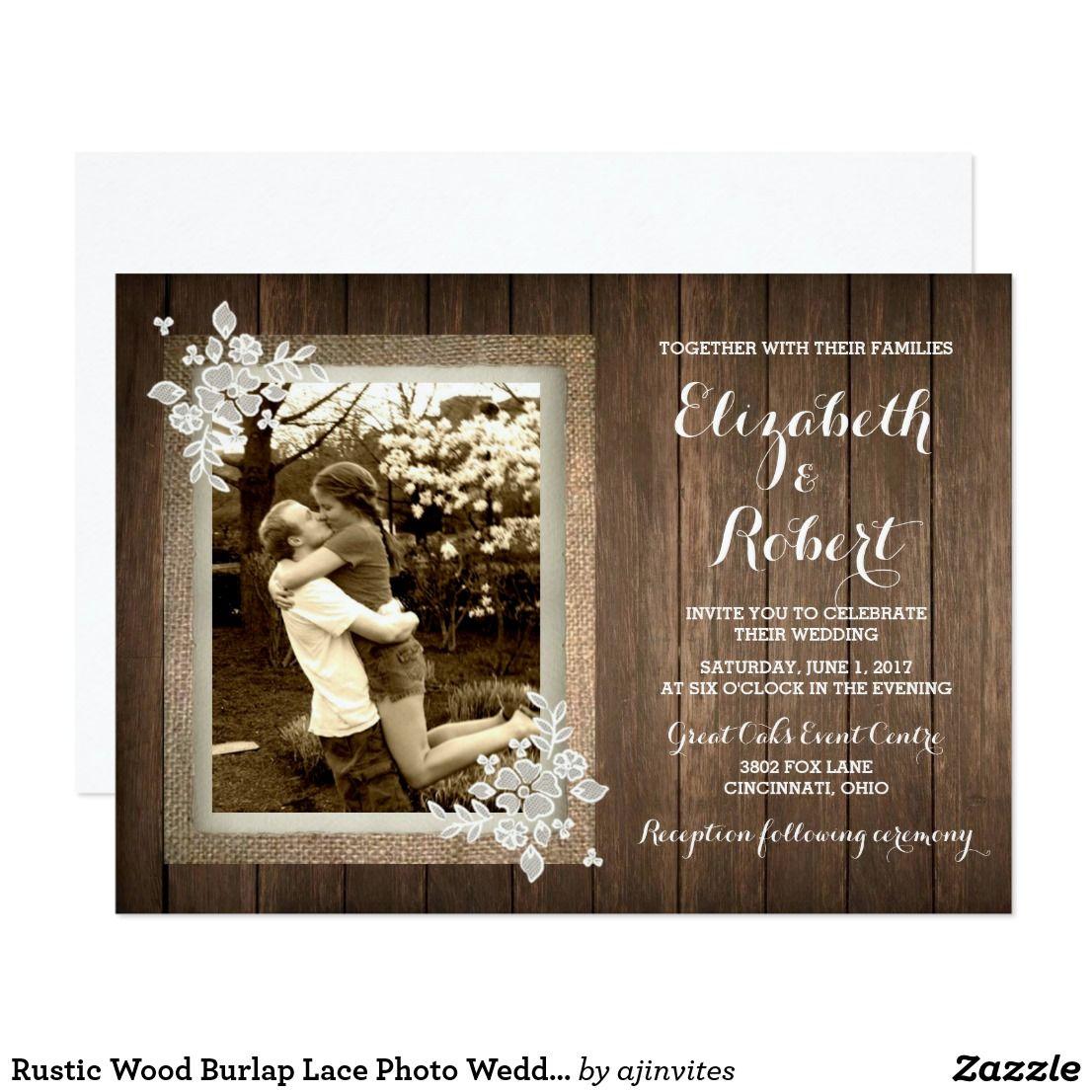 Rustic Wood Burlap Lace Photo Wedding Invitation Zazzle