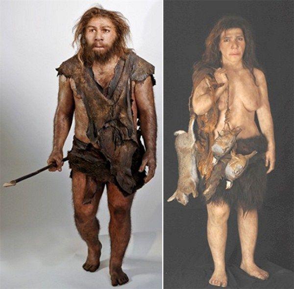 Modern Man Vs Caveman : Neanderthal male female reconstructions by