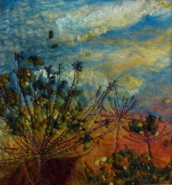 Autumn Cow Parsley  -  Threlfalls Art Studio | Silk Paintings | Felt Paintings | Acrylics | Caren and Pete | Country, Town and Seascapes | Workshops |